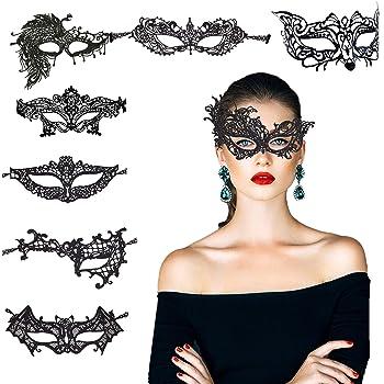 レースマスク KAKOO 8種類8枚 レースアイマスク ベネチアンアイマスク ハロウィン 弾力レース紐 ベネチアンマスク 透かし彫り アイマスク セクシー コスプレ 仮装 パーティー 仮面舞踏会 変装 レース ヴェネチアン マスク (黒)