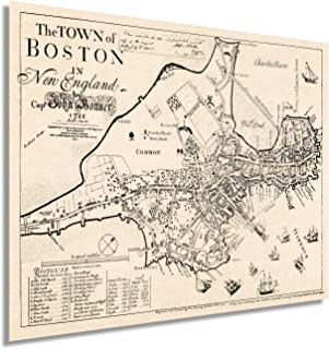 1722 Map The Town of Boston 24x32 Inch