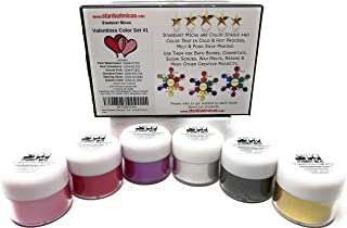 Mica Powder Soap Making Kit Cosmetic Grade Mica for Soap Making Supplies Powdered Pigments for Epoxy Resin Dye Soap Making Dye (Color Set Valentines #1, 6 Jar Color Set - Total 60 Grams)