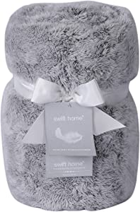 "Swift Home Super Soft Frosted Oversized Plush Faux Fur Throw Blanket, Luxurious Cozy Warm Fluffy Breathable Lightweight for Bed Couch Chair Travel Cuddling, All Seasons, 60 x 70"" - Grey"