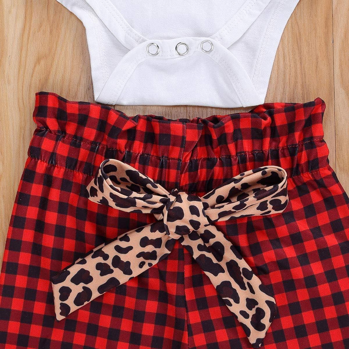 Newborn Baby Girls Christmas Outfits My First Christmas Romper Top Plaid/Leopard Pants Pajamas Headband Set