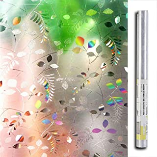 LEMON CLOUD No Glue Static Cling Privacy Glass 3D Frosted Leaf Window Films (17.7 by 78.7 Inches, Color 1)