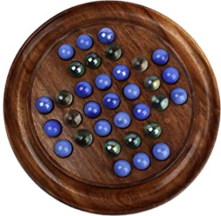MOJO PANDA Mojopanda Games Solitaire Board in Wood with Glass Marbles for Teens and Adults