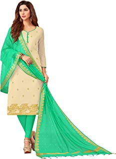 Maroosh Women'S Silk Fabric Beige Color Chudidar Free Size Dress Material