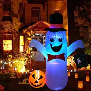 Frigg Halloween Decorations Outdoor 5FT Inflatable Blow Up White Ghost with Built-in LED Lights, Tethers, 4 Stakes for Hal...