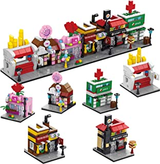 FunLittleToy City Building Blocks with Shops, Building Bricks Party Favours for Kids, Educational STEM Toys Birthday Gifts...