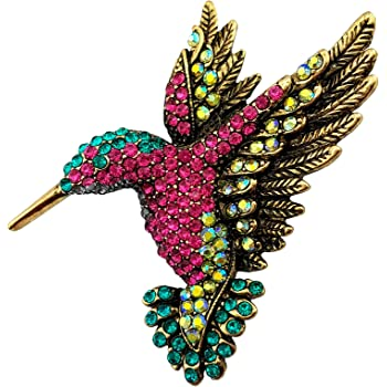 SELOVO Antique Tone Bird Hummingbird Multi Color Austrian Crystal Pin Brooch Jewelry