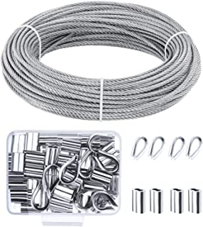 Canomo Cable Railing Kits Includes Stainless Steel Wire Rope Cable, 50 Pieces Aluminum Crimping Sleeves and 10 Pieces Stai...