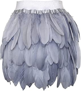 Zakia Women's Real Natural Feathers Fashion Mid-Waist Mini A-Line Skirt Casual Skirt Halloween Party Feather Skirt