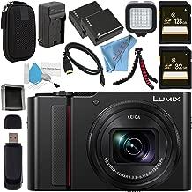 Panasonic Lumix DC-ZS200 DC-ZS200K Digital Camera (Black) + DMW-BLG10 Lithium Ion Battery + External Rapid Charger + 32GB SDHC Card + 128GB SDXC Card + Small Carrying Case + LED Light Bundle