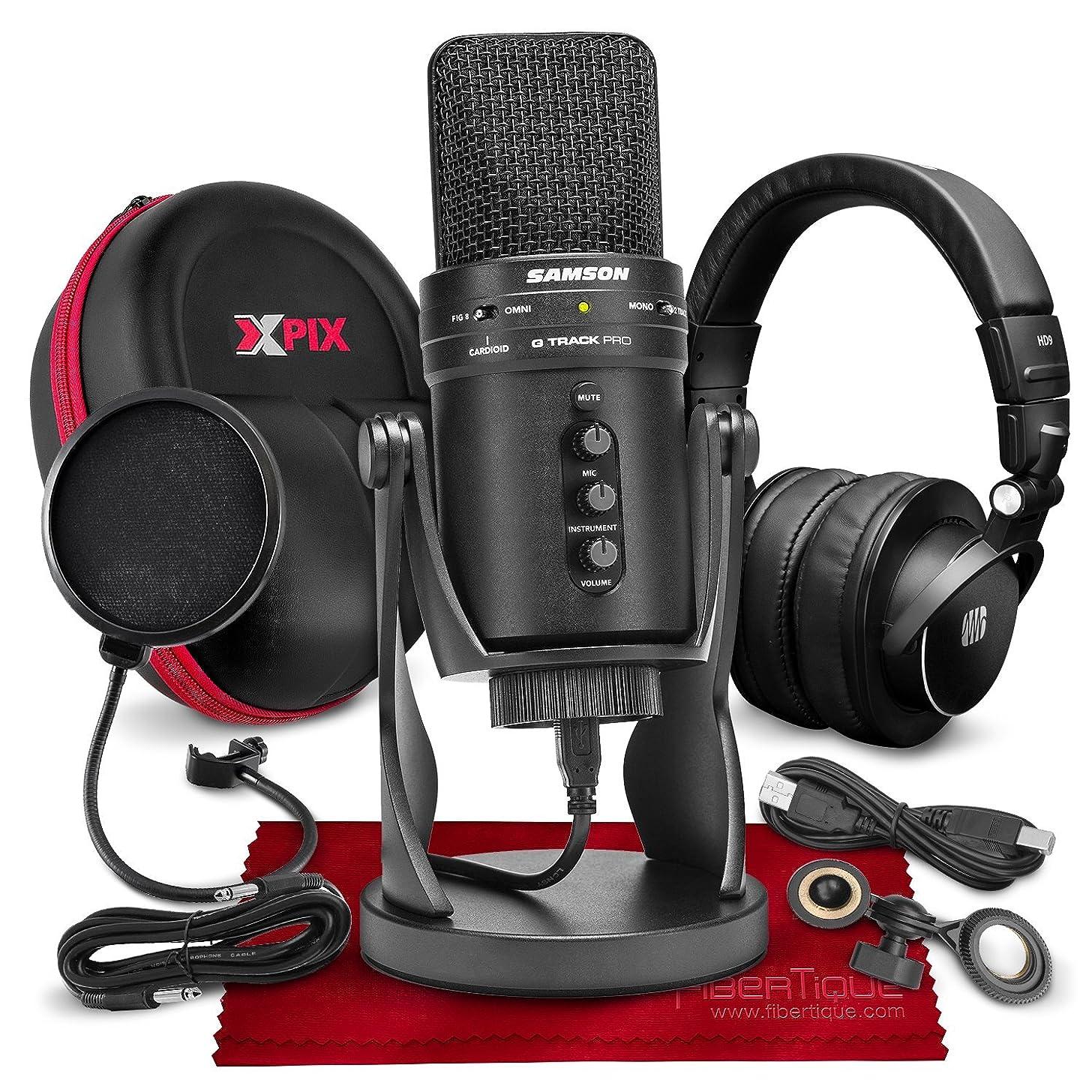 Samson G-Track Pro Professional USB Condenser Microphone w/Audio Interface Bundled with PreSonus HD9 Pro Headphones, Mic Pop Filter, Headphones Case, and Accessories