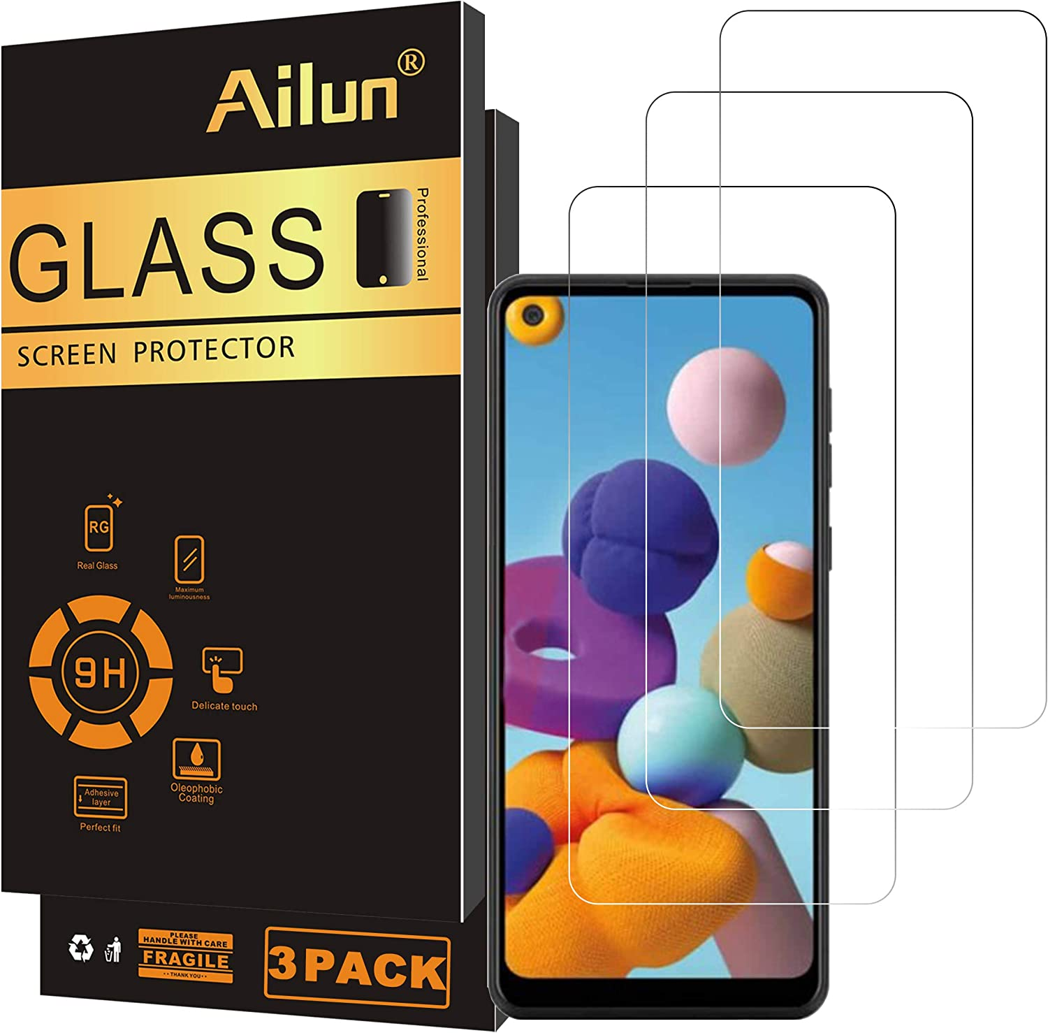 Ailun Screen Protector for Galaxy A21 3 Pack Tempered Glass Ultra Clear Anti-Scratch Case Friendly
