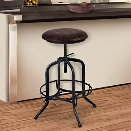 Armen Living LCELSTSBR Elena Adjustable Barstool in Brown Fabric and Industrial Grey Metal Finish