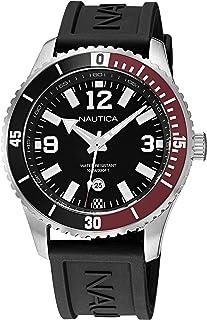 Nautica Men's Stainless Steel Quartz Silicone Strap, Black, 22 Casual Watch (Model: NAPPBS161)