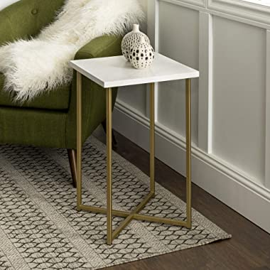 Walker Edison Furniture Modern Square Side End Accent Table Living Room, 16 Inch, White Marble, Gold