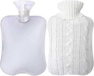Attmu Classic Rubber Transparent Hot Water Bottle with Knit Cover - 2 Fl Oz, White