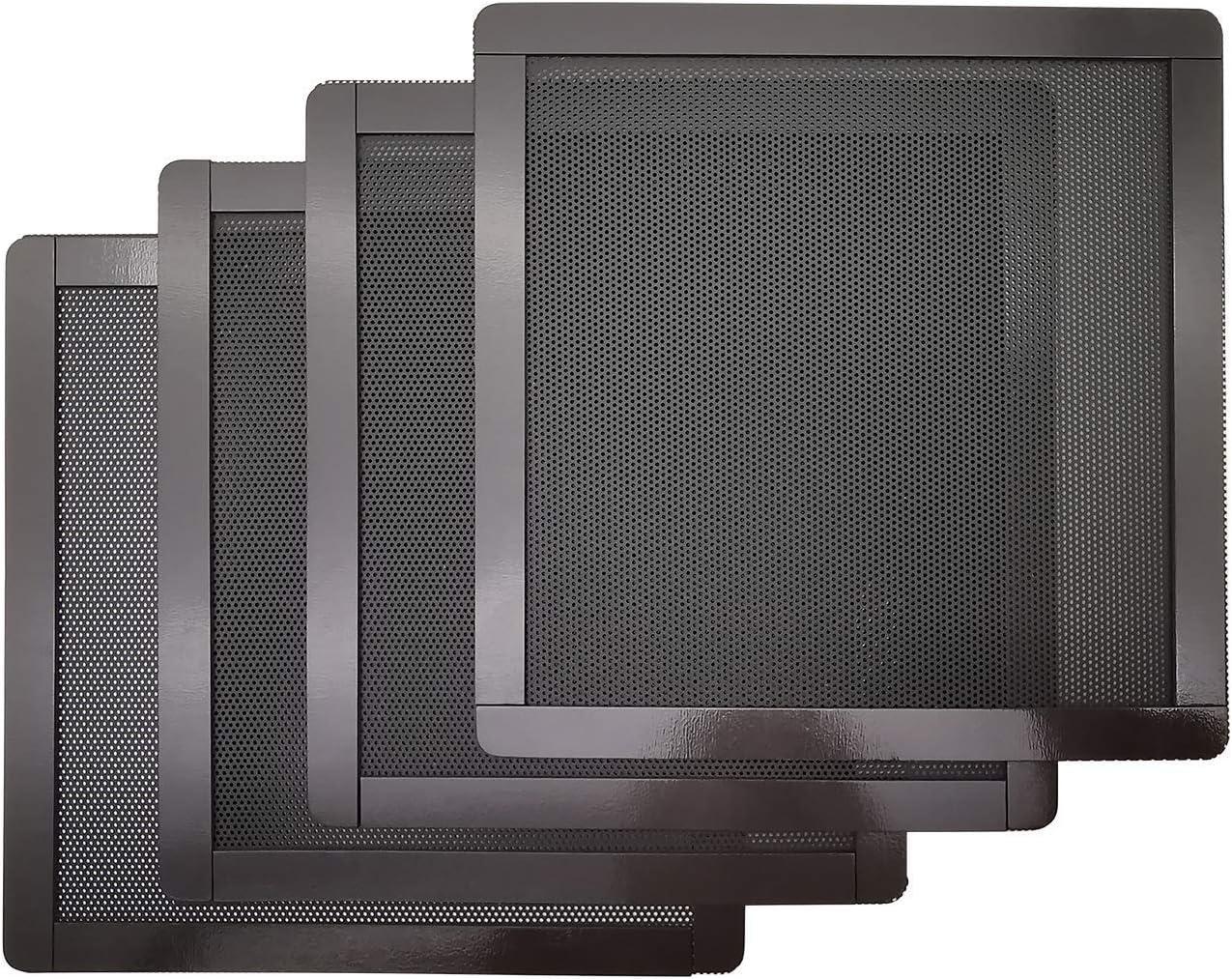 140mm PC Computer Case Fan Magnetic Frame Dust Filter Screen Dustproof Case Cover, Ultra Fine PVC Mesh, Black Color - 4 Pack