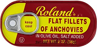 Roland Foods Anchovies Fillets, Flat in Olive Oil, 2 Ounce (Pack of 25)