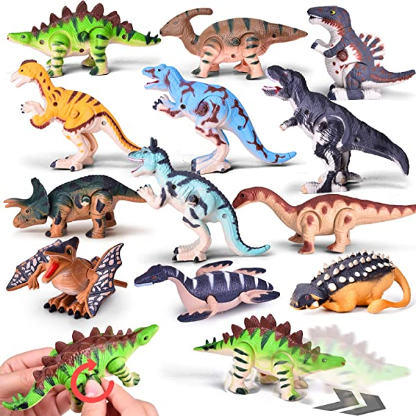 Wind Up Toys 12 PCs Assorted Dinosaur Toys For Goodie Bags Carnival Prizes Party Favors For Kids