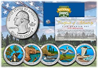 2018 America The Beautiful COLORIZED Quarters U.S. Parks 5-Coin Set w/Capsules