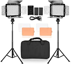 Emart LED Photo Video Light - Dimmable 176 LED Panel Lighting Kit with 4.3 ft Light Stand, Color Filters, Rechargeable Batteries, Carring Bag for YouTube Studio - 2 Sets