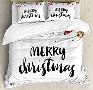 Ambesonne Christmas Duvet Cover Set, Merry Xmas Words Modern Brush Lettering Creative Noel Phrase Inspirational Print, Decorative 3 Piece Bedding Set with 2 Pillow Shams, King Size, Charcoal