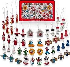 NorthPoleXpress Premium Mini Wooden Christmas Tree Ornaments - Set of 48 Ornament Figures Advent Calendar Stuffers Fillers - Santa Claus Snowman Angels - Tiny Hanging Vintage Miniature Decorations