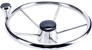 Sponsored Ad - Amarine Made 5-Spoke 13-1/2 Inch Destroyer Style Stainless Boat Steering Wheel with Big Size Knob - XK-9310...