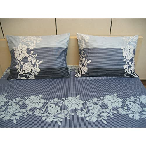 DaDa Bedding Floral Fitted Sheet -Elegant Striped w/Pillow Case Set- 2-