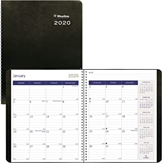 Blueline 2020 DuraGlobe Monthly Planner, 14-Month Planner, December 2019 to January 2021, Sugarcane, Soft Black Cover, 8.875 x 7.125 inches (C230.21T-20)