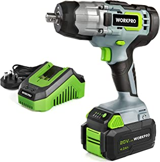 """WORKPRO Cordless Impact Wrench Lightweight 20V/18V, 4.0Ah Li-ion Battery (Fast Charger), 1/2"""" Chuck, 2 Mode Forward/Revers..."""