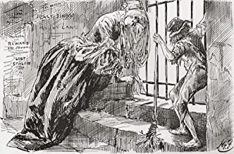 """Lady Dedlock and Jo. """"He was put there,"""" says Jo, holding to the bars and looking in, while Lady Dedlock shrinks into a corner. Illustration by Harry Furniss for the Charles Dickens novel Bleak House, from The Testimonial Edition, published 1910. Poster Print (17 x 11)"""