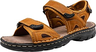 JOUSEN Men's Sandals Outdoor Open Toe Sandal Leather Strap Water Beach Sandal