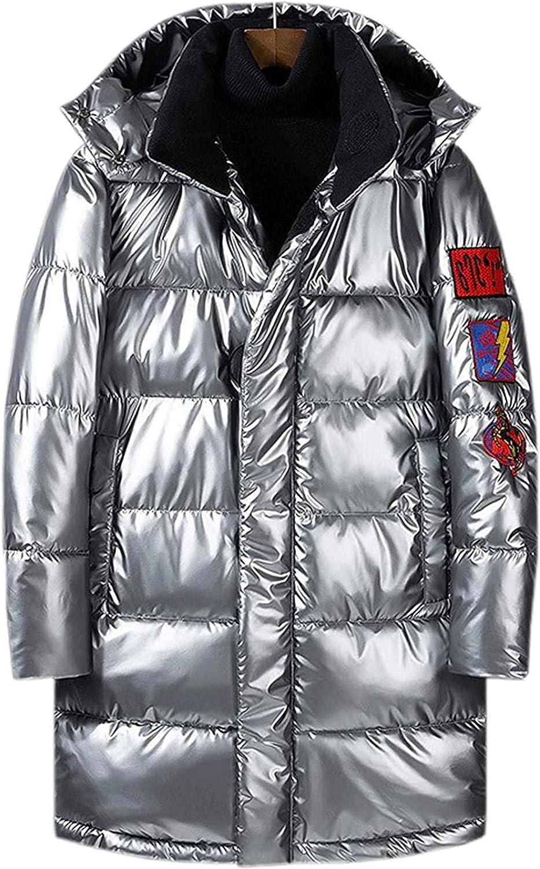 Men's Cool Stylish Metallic Shiny Hooded Snow Jacket Alternative Down Coat