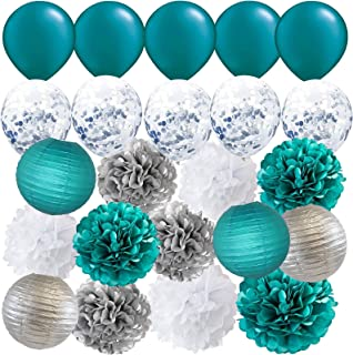 Furuix Teal Silver Wedding/Baby Shower Decorations Bridal Shower Teal Silver Confetti Latex Balloons Teal Balloons Teal Engagement/Teal Silver Birthday Party Decorations