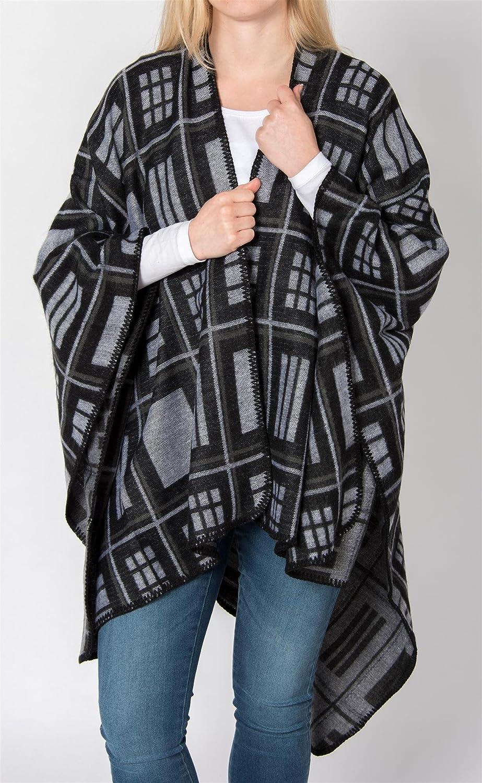 styleBREAKER Poncho mit quadratischem Rechteck Karo Muster, Umhang, Überwurf Cape, Wendeponcho, Damen 08010015 Dunkelblau-rot-hellgrau