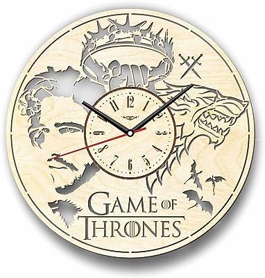 Game of Thrones Jon Snow ゲーム・オブ・スローンズジョンスノー木製掛け時計ー完璧で美しく作られたー現代アートで自宅を飾ろうー彼と彼女にユニークなギフトーサイズ12インチ(30 ㎝)