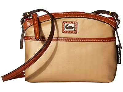 Dooney & Bourke Camden Domed Crossbody (Natural/Dark Chocolate Trim) Cross Body Handbags