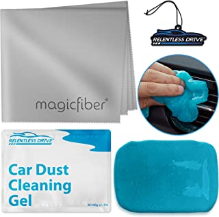 Relentless Drive Car Cleaner Interior Kit, Includes Top Car Essentials, Car Cleaning Gel for Car Detailing, Car Air Freshener & XL Microfiber Cleaning Cloth, Perfect Car Cleaning Supplies Kit