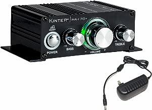 Kinter MA170+ 2-Channel Auto Home Cycle Arcade DIY 2 x 18 W Mini Amplifier Bass Treble RCA Input Audio Mini Amplifier with 12V 3A Power Supply Black