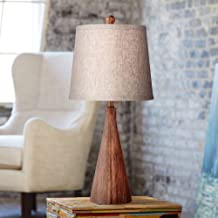 Fraiser Mid Century Modern Accent Table Lamp Wood Cone Oatmeal Drum Shade for Living Room Family Bedroom Bedside Nightstand - 360 Lighting