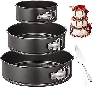 Hbsite Ensemble moules à gâteau Rond, 3 moules à gâteaux en Forme de Ressort Réglable Amovible avec Moule à gâteau au From...