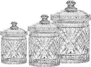 Godinger Canister Set, Crystal Canisters Food Storage Jars - Dublin Collection, Set of 3