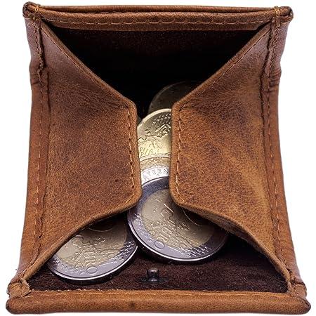 Hill Burry Monedero de Cuero Genuino   Portamonedas pequeño - Monederos de Monedas   Estuche de Monedas - Pocket (marrón)
