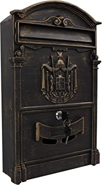 Locking Wall Mounted Mailbox - Vintage White with Crest Design - Aluminum Chic Mail Box with Keys - Secure Residential Letter Box (Bronze)