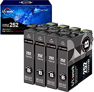 Uniwork Remanufactured Ink Cartridge Replacement for Epson 252XL 252 XL T252XL use for Workforce WF-3640 WF-3620 WF-7110 W...
