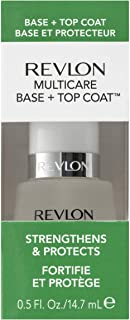 Revlon Multicare Base + Top Coat, 2 in 1 Nail Strengthener and Top Coat for Glossy Shine Finish, 0.5 oz