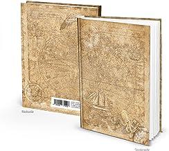Anteckningsbok vintage liten DIN A5 gammal värld ljusbrun resedagbok maritim 136 tomma vita sidor tomma världskarta jorden...