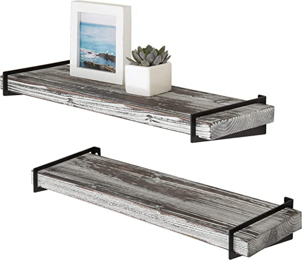 MyGift 24 Inch Rustic Torched Wood Floating Shelves With Black Metal Brackets Set Of 2