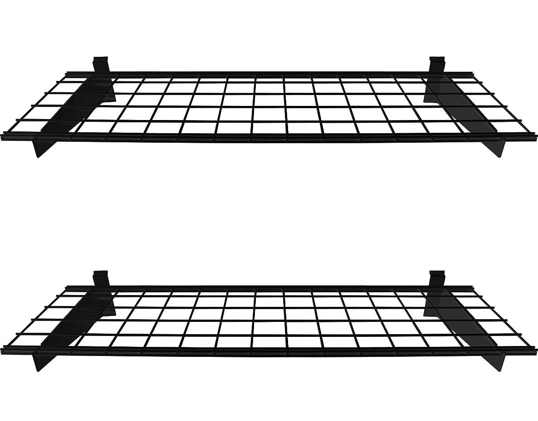HyLoft 00291 45-Inch by 15-Inch Slat Wall Shelf, 2-Pack, Black (Slat Wall Only)